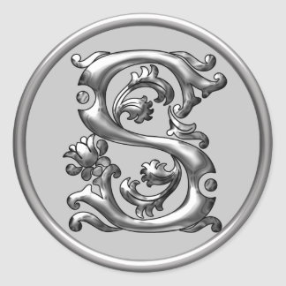 Pegatina redondo inicial de S en plata