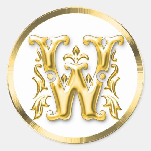 Pegatina redondo inicial de W en oro
