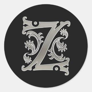 Pegatina redondo inicial de Z en plata