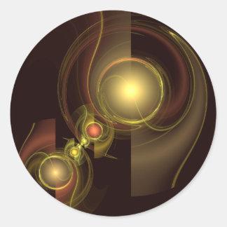 Pegatina redondo íntimo del arte abstracto de la