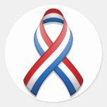 Pegatina redondo rojo, blanco, y de Blue Ribbon