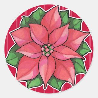 Pegatina redondo rojo de la alegría del Poinsettia