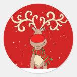 Pegatina redondo rojo del reno del navidad