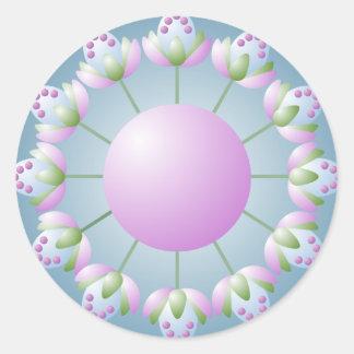 Pegatina redondo rosado del brote de flor del