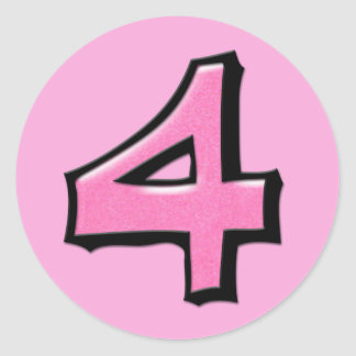 Pegatina redondo rosado del número 4 tontos