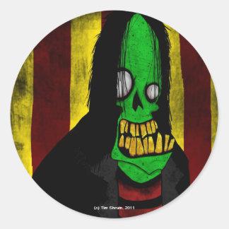 Pegatina redondo sonriente del zombi verde