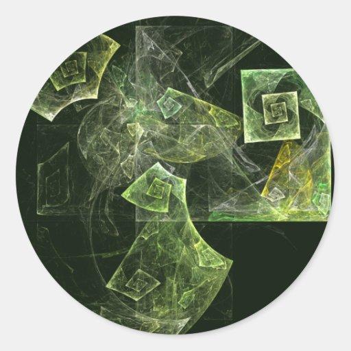 Pegatina redondo torcido del arte abstracto de la