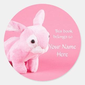 Pegatina relleno rosa del Bookplate del conejito