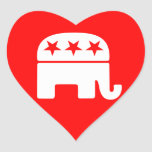 Pegatina republicano del corazón del elefante