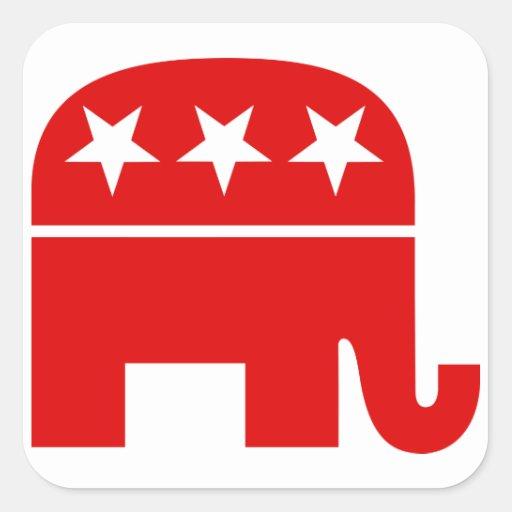 Pegatina republicano del cuadrado del elefante