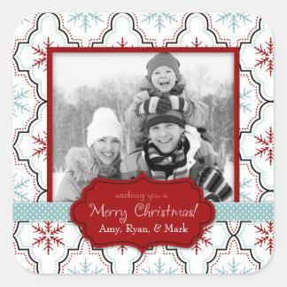 Pegatina retro B de la foto de los copos de nieve