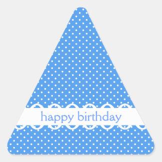 Pegatina retro blanco azul del feliz cumpleaños de