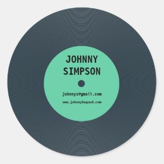 Pegatina retro de la plantilla del texto del disco