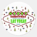 Pegatina retro de Las Vegas Christma