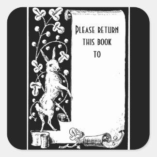 Pegatina retro del bookplate del conejo y de la