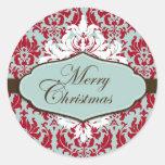 Pegatina retro del brocado del navidad
