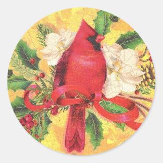 Pegatina retro del cardenal del navidad