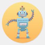 Pegatina retro del dibujo animado del robot
