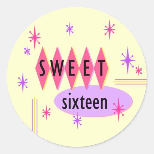 Pegatina retro del dulce dieciséis