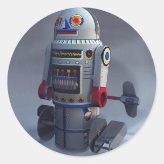 Pegatina retro del número 7 del robot del juguete