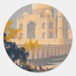 Pegatina retro del poster del viaje del Taj Mahal