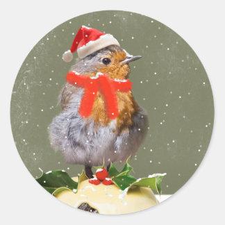 Pegatina rizado del navidad del petirrojo