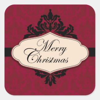 Pegatina rojo 2 del brocado del navidad