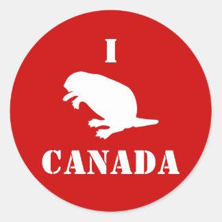 Pegatina rojo blanco del castor del día de Canadá