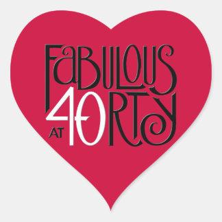 Pegatina rojo blanco negro del corazón 40 fabuloso