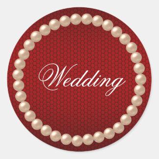 Pegatina rojo brillante del boda