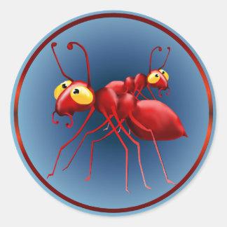 Pegatina rojo de dos hormigas