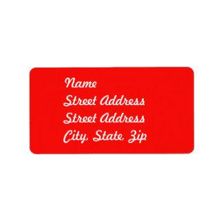Pegatina rojo de la dirección etiquetas de dirección