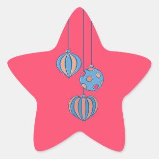Pegatina rojo de la estrella de las bolas retras