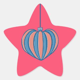 Pegatina rojo de la estrella del navidad del