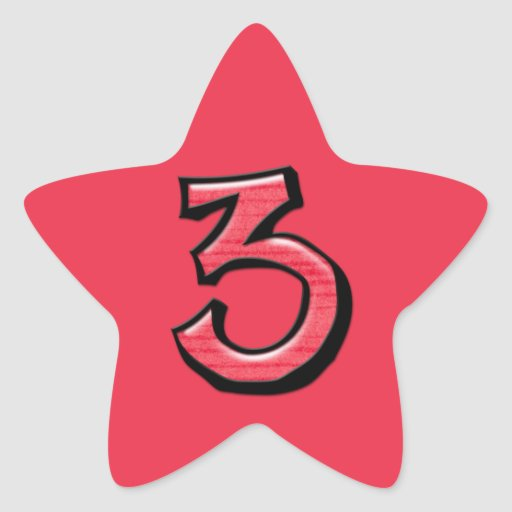 Pegatina rojo de la estrella del número 3 tontos