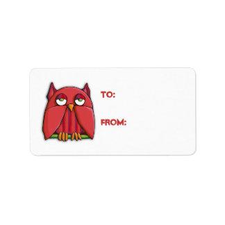 Pegatina rojo de la etiqueta del regalo del búho etiquetas de dirección