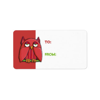 Pegatina rojo de la etiqueta del regalo del búho r etiquetas de dirección