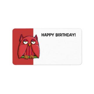 Pegatina rojo de la etiqueta del regalo del feliz  etiquetas de dirección