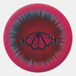 Pegatina rojo de la mandala de la mariposa