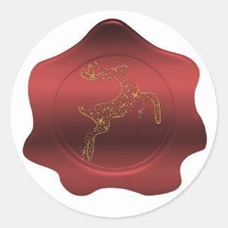 Pegatina rojo de la mirada del sello de la cera