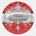 Pegatina rojo de Quinceanera de la tiara y del