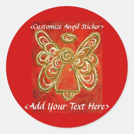 Pegatina rojo del ángel con palabras de encargo
