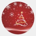 Pegatina rojo del árbol de navidad
