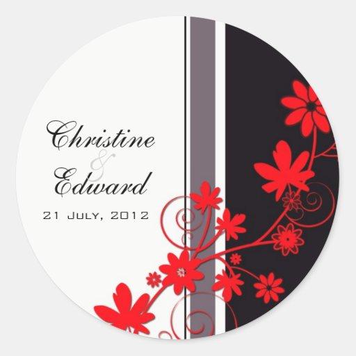 Pegatina rojo del boda de la flor