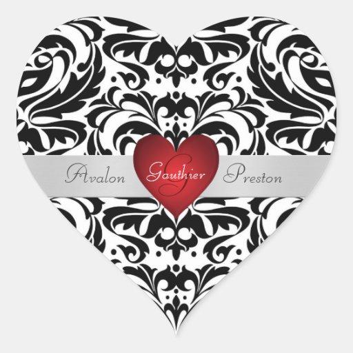 Pegatina rojo del boda del corazón del damasco