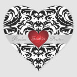 Pegatina rojo del boda del corazón del damasco neg
