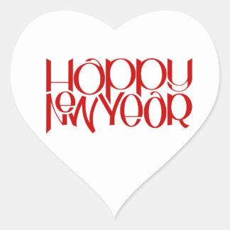 Pegatina rojo del corazón de la Feliz Año Nuevo