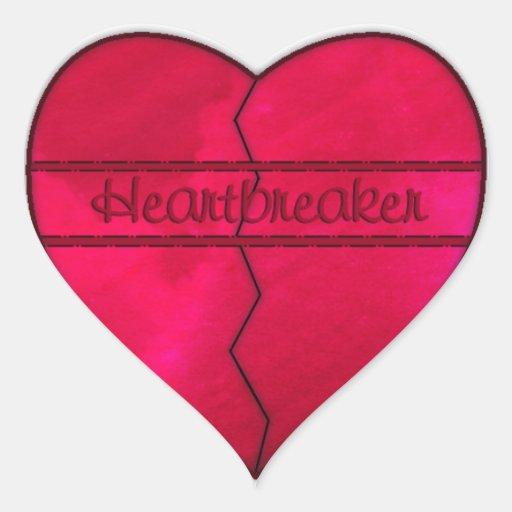 Pegatina rojo del corazón quebrado del