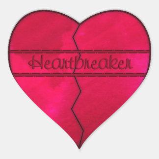 Pegatina rojo del corazón quebrado del rompecorazo