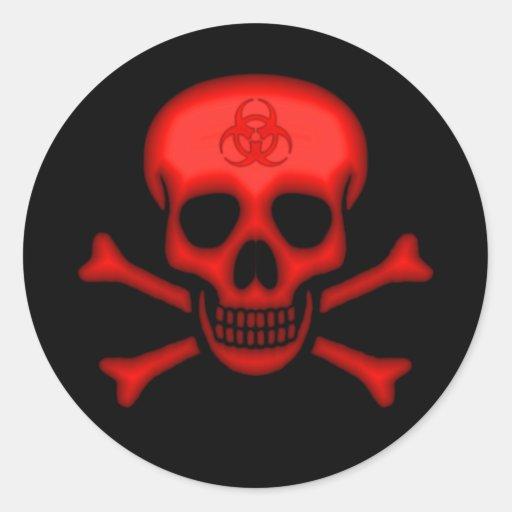 Pegatina rojo del cráneo del Biohazard